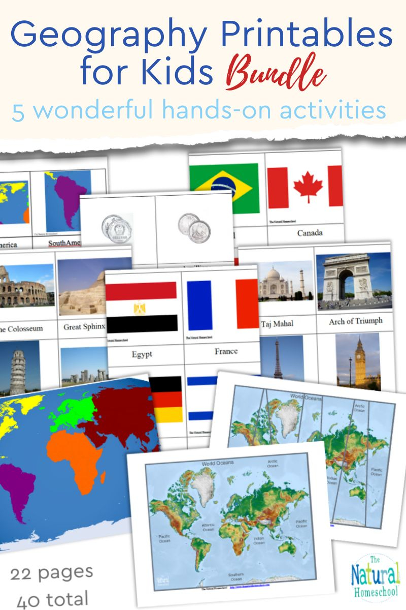 Take a look at our wonderful set of fun and educational Geography Printables for Kids! This is a great bundle to use over and over again to teach kids the basics on Geography!