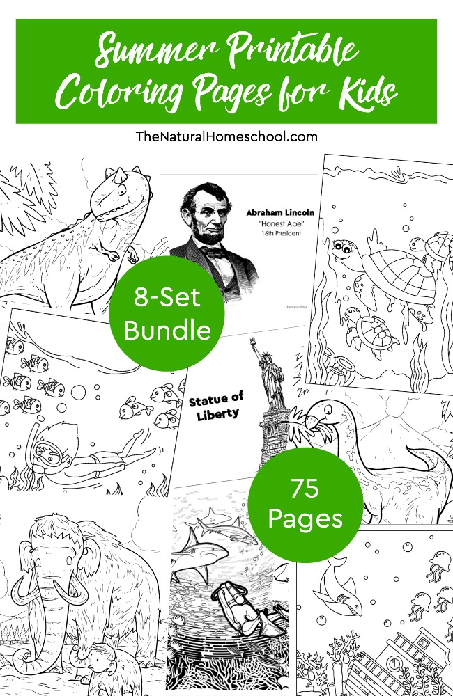 Summer Printable Coloring Pages for Kids ~ 8-Set Bundle