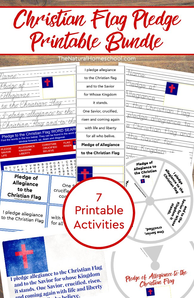 graphic regarding Pledge of Allegiance Printable known as Christian Flag Pledge Printable Package deal ~ 7 Routines