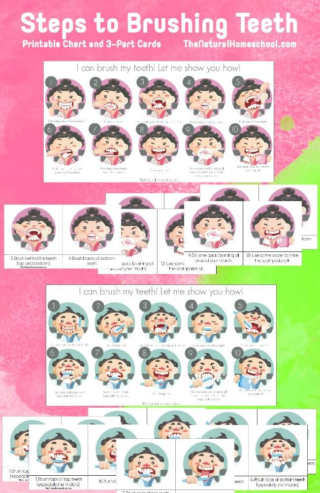 picture relating to Printable Tooth Brushing Chart titled Actions towards Brushing Enamel for Kids (Printable Chart and 3-Component Playing cards)