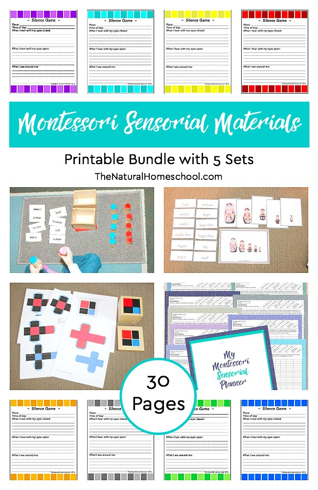 graphic regarding Printable Sets known as Montessori Sensorial Elements Printable Package with 5 Sets
