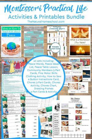 10 printable montessori practical life ideas the natural homeschool montessori practical life activities printables bundle fandeluxe Images