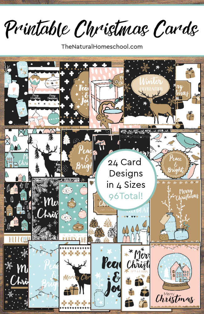 Printable Christmas Cards Set (96 total)