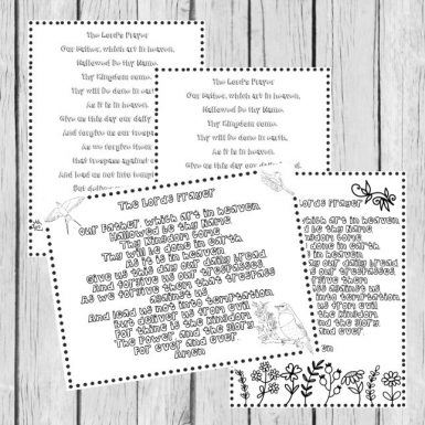 image regarding Printable Lords Prayer known as The Lords Prayer Coloring Webpages inside of 4 Languages (16 Web pages)