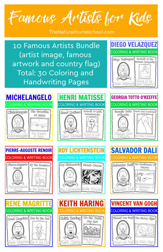 Come and get these 10 famous artist projects for kids! It's a great bundle with 30 pages that are perfect for children to learn about 10 famous artists.